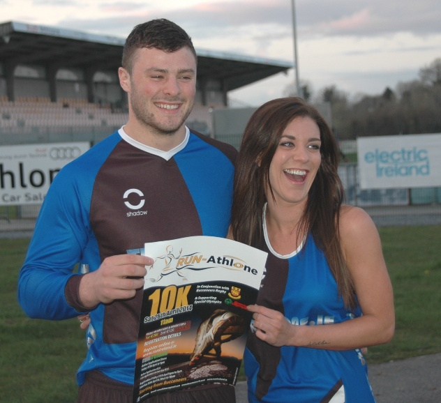Ireland rugby international Robbie Henshaw and 'The Apprentice' winner Michelle Massey share a lighter moment at the RUN-Athlone 10k launch at Dubarry Park.