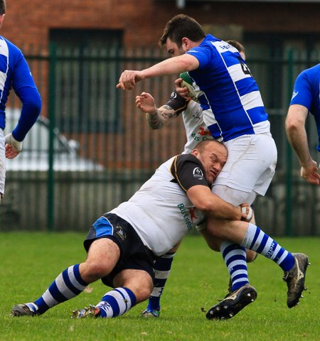 St Mary's prop tackle in white