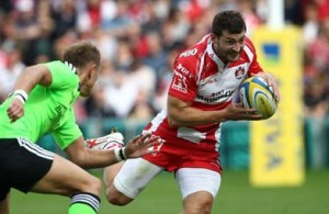 Jonny May on the attack for Gloucester