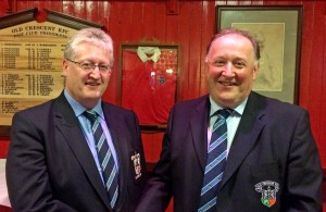 L-R, Tim Duggan, new President of Old Crescent RFC, being congratulated on his election by outgoing President, Pat Monaghan, 22 May 2017