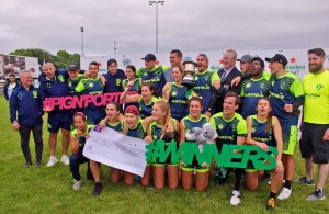 Australian visitors, Oz Tag Crocs, celebrate winning Premier Division of Heineken Light Pig n Porter Tagt Rugby Festival, 15 July 2017